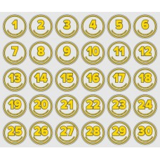 Glue numbers for water bottles - set (1-30)